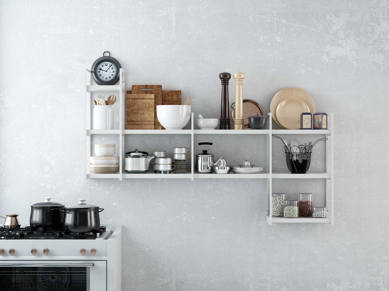 Ikea estanterias metalicas cocina for Estanterias pared cocina